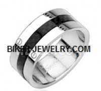 Men's Stainless Steel Carbon Fiber Wedding Band  Sizes 9-13  FREE SHIPPING - Product Image