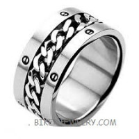 SPINNER RING  Stainless Steel  Wide Band  Sizes 9-15  FREE SHIPPING - Product Image