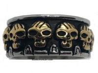 Skull Stainless Steel Wedding Band Ring Sizes 8-14 - Product Image