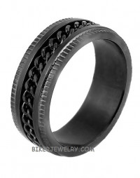 Black Curb Link  Spinner Ring  Wedding BandStainless Steel  Size 8-14  FREE SHIPPING - Product Image