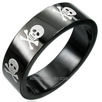 Skull and Crossbones 8mm Wedding Band Ring Black Stainless Steel  Size 5-16  FREE SHIPPING - Product Image