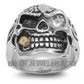 Stainless Steel Skull Biker Ring  CZ Eye and a Gold BulletSizes 7-16FREE SHIPPING - Product Image