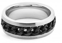 Stainless Steel Black Chain Spinner Wedding Band Ring  Sizes 8-16  FREE SHIPPING - Product Image