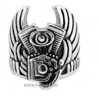 Stainless Steel Engine Stainless Steel Ring  Sizes 9-15  FREE SHIPPING - Product Image
