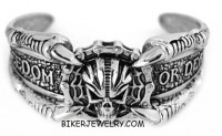 Stainless Steel Freedom or Death Biker Skull Cuff Bracelet FREE SHIPPING - Product Image