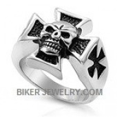 Stainless Steel  Iron Cross  Biker Ring with a Skull  Sizes 7-15  FREE SHIPPING - Product Image