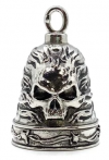 Stainless Steel Motorcycle Ride Bell ® Skull in Flames  FREE SHIPPING