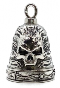 Stainless Steel Motorcycle Ride Bell ® Skull in Flames  FREE SHIPPING - Product Image