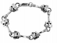 Stainless Steel Piston / Punisher Skull Men's Biker Bracelet  FREE SHIPPING - Product Image
