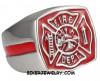 Stainless Steel Red Firefighter's Maltese Cross Fireman Ring Sizes 8-13FREE SHIPPING