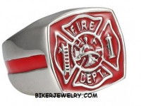 Stainless Steel Red Firefighter's Maltese Cross Fireman Ring Sizes 8-13FREE SHIPPING - Product Image