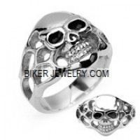 Stainless Steel Skull Biker Ring  Sizes 9-14  FREE SHIPPING - Product Image