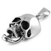 Skull Pendant  Stainless Steel  on a Rope Chain  4 Lengths  FREE SHIPPING - Product Image