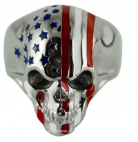 Stainless Steel Skull Ring American Flag Sizes 9-15  FREE SHIPPING - Product Image