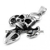 Pendant with Rope Chain  Stainless Steel  Skull/Cross  3 Lengths  FREE SHIPPING - Product Image