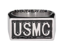 Stainless Steel USMC MARINE Military Ring FREE SHIPPING - Product Image