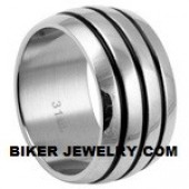 Stainless Steel  Wide 3 Line Band  Sizes 9-14  FREE SHIPPING - Product Image