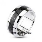 Stainless Steel  Carbon Fiber  Wedding Band  Sizes 5-13  FREE SHIPPING - Product Image