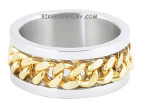 Stainless Steel  Gold Curb Link Chain Wedding Band  Spinner Ring  Sizes 8-15  FREE SHIPPING - Product Image
