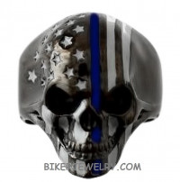 Stainless Steel Police Officer Black Skull Thin Blue Line Ring Sizes 9-13  FREE SHIPPING - Product Image