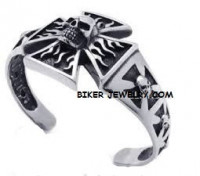 Stainless Steel  Skull Cuff Bracelet  Iron Cross / Skulls  FREE SHIPPING - Product Image