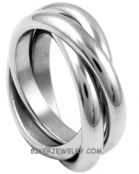 Stainless Steel Wedding Band Tri-Band Ring  Sizes 5-12  FREE SHIPPING - Product Image