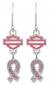 Sterling Silver Earrings  Harley Davidson ®  Breast Cancer  with Pink CZ'sHPE001