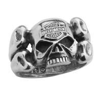 Sterling Silver Harley-Davidson ® Willie G Skull Crossbones Men's Biker Ring Mod Jewelry® HDR0308  - Product Image