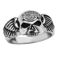 Sterling Silver Harley Davidson ® Willie G Skull Men's Biker Ring Mod Jewelry® Available in Sizes 9-15HDR0292  - Product Image