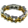 Two Tone Wide and Heavy Gold and Stainless Steel Biker Chain Bracelet  FREE SHIPPING