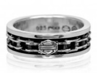 Unisex Biker Wedding Band Sterling Silver Harley-Davidson ® Motorcycle Spinner Ring Bike ChainHDR0174 - Product Image