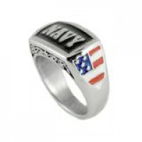 Unisex NAVY Military Ring with Flag Stainless SteelSizes 5-15 FREE SHIPPING - Product Image