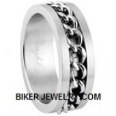 Unisex  Stainless Steel  Wedding Band  Chain  Spinner Ring  5-15  FREE SHIPPING - Product Image