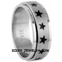 Unisex Wedding Band Stainless Steel Spinner Star Ring Sizes 5-14  FREE SHIPPING - Product Image
