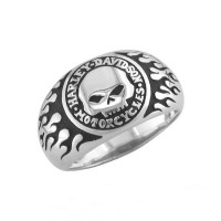 Unisex Harley-Davidson ® Sterling Silver Willie G Skull Biker Ring Mod Jewelry® Available in Sizes 5-15HDR0061 - Product Image