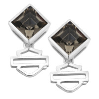 Women's Earrings Harley-Davidson ® Motorcycle  Sterling Silver Black Ice Diamond Shape Crystal HDE0360 - Product Image