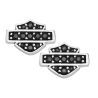 Women's Earrings Harley-Davidson ® Sterling Silver Black Bling Crystal Mod Jewelry®  HDE0281 - Product Image