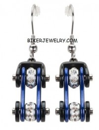 Women's Stainless Steel Black and Blue Bling Motorcycle Bike Chain Earrings  FREE SHIPPING - Product Image