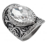 Women's  Stainless Steel  Huge Crystal Ring  Sizes 6-12 FREE SHIPPING - Product Image
